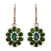 Lab Created Emerald, Russian Diopside 14K RG Over Sterling Silver Lever Back Earrings TGW 4.50 cts.