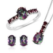 Northern Lights Mystic Topaz, Orissa Rhodolite Garnet Platinum Over Sterling Silver Ring (Size 7), Earrings and Pendant With Chain (20 in) TGW 5.75 cts.
