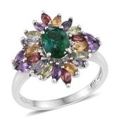 Lab Created Emerald, Multi Gemstone Platinum Over Sterling Silver Ring (Size 8.0) TGW 3.24 cts.