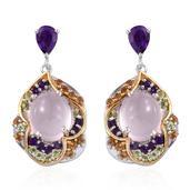 Jewel Studio by Prachi Galilea Rose Quatz, Multi Gemstone 14K YG and Platinum Over Sterling Silver Earrings TGW 13.52 Cts.