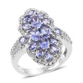 Tanzanite, White Topaz Platinum Over Sterling Silver Elongated Split Ring (Size 8.0) TGW 3.78 cts.
