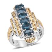 Teal Kyanite 14K YG and Platinum Over Sterling Silver Ring (Size 6.0) TGW 3.550 cts.