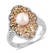Pearl Expressions Freshwater Pearl, Hebei Peridot 14K YG Over and Sterling Silver Ring (Size 5.0) TGW 2.520 cts.
