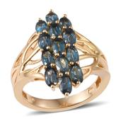 Teal Kyanite 14K YG Over Sterling Silver Openwork Ring (Size 6.0) TGW 3.90 cts.