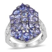 Tanzanite Platinum Over Sterling Silver Cluster Ring (Size 7.0) TGW 5.350 cts.