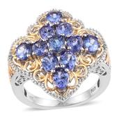 Tanzanite 14K YG and Platinum Over Sterling Silver Openwork Ring (Size 6.0) TGW 4.100 cts.