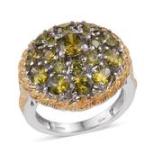 KARIS Collection - Simulated Green Diamond ION Plated 18K YG and Platinum Bond Brass Ring (Size 7.0) TGW 8.70 cts.