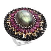 Jewel Studio by Shweta Malagasy Labradorite, Orissa Rhodolite Garnet, Thai Black Spinel 14K YG and Platinum Over Sterling Silver Ring (Size 7.0) TGW 24.720 cts.