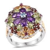 Jewel Studio by Shweta Multi Gemstone Platinum Over Sterling Silver Ring (Size 7.0) TGW 5.140 cts.