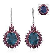 Color Change Fluorite, Orissa Rhodolite Garnet Platinum Over Sterling Silver Lever Back Dangle Earrings TGW 15.16 cts.