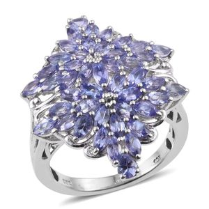 Tanzanite Platinum Over Sterling Silver Ring (Size 6.0) TGW 3.75 cts.
