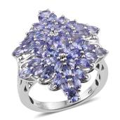 Tanzanite Platinum Over Sterling Silver Ring (Size 9.0) TGW 3.75 cts.