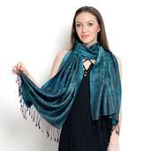 Silk Mark Luxury - Green Floral Print 100% Super Fine Natural Mulberry Silk Evening Wrap (70x27 in)