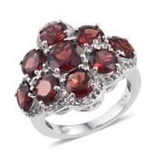 Mozambique Garnet, White Topaz Platinum Over Sterling Silver Ring (Size 8.0) TGW 11.630 cts.