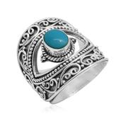 Bali Legacy Collection Arizona Sleeping Beauty Turquoise Sterling Silver Ring (Size 6.0) TGW 1.330 cts.