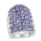 Tanzanite Platinum Over Sterling Silver Elongated Knuckle Ring (Size 9.0) TGW 8.950 cts.