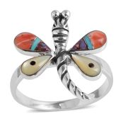 Santa Fe Style Multi Gemstone Sterling Silver Dragonfly Ring (Size 9.0) TGW 3.70 cts.