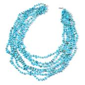 Blue Howlite, Blue Seed Bead Silvertone Multi Strand Drape Necklace (20 in) TGW 627.70 Cts.