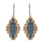 Teal Kyanite 14K YG and Platinum Over Sterling Silver Lever Back Earrings TGW 5.75 Cts.