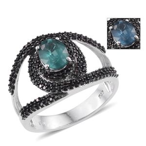 Teal Kyanite, Thai Black Spinel Platinum Over Sterling Silver Ring (Size 6.0) TGW 3.15 cts.