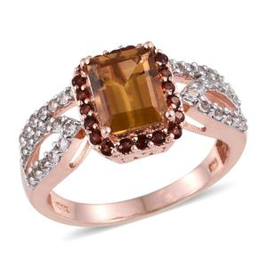 Marialite, Multi Gemstone 14K RG Over Sterling Silver Ring (Size 7.0) TGW 3.33 cts.