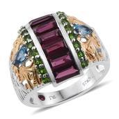 Royal Jaipur Orissa Rhodolite Garnet, Multi Gemstone 14K YG and Platinum Over Sterling Silver Openwork Ring (Size 7.0) TGW 4.700 cts.