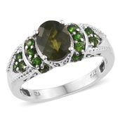 Vesuvianite, Russian Diopside Platinum Over Sterling Silver Ring (Size 8.0) TGW 2.70 cts.