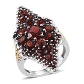 Mozambique Garnet 14K YG and Platinum Over Sterling Silver Elongated Ring (Size 7.0) TGW 7.840 cts.