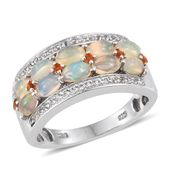 Ethiopian Welo Opal, Jalisco Fire Opal, White Topaz Platinum Over Sterling Silver Ring (Size 7.0) TGW 1.900 cts.
