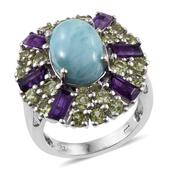 Larimar, Lusaka Amethyst, Hebei Peridot Platinum Over Sterling Silver Statement Ring (Size 8.0) TGW 9.100 cts.