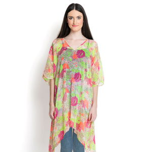 Neon Multi Color Floral Splash Pattern 100% Polyester V-Neck Chiffon Poncho (One Size)
