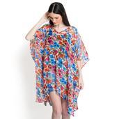 J Francis - Multi Color Splash Floral Print 100% Polyester V-Neck Chiffon Poncho