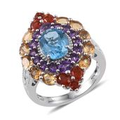 Rainbow Gems Electric Blue Topaz, Multi Gemstone Platinum Over Sterling Silver Ring (Size 8.0) TGW 6.100 cts.