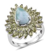 Larimar, Hebei Peridot Platinum Over Sterling Silver Ring (Size 7.0) TGW 8.61 cts.