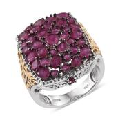 Niassa Ruby 14K YG and Platinum Over Sterling Silver Openwork Cluster Statement Ring (Size 5.0) TGW 7.250 cts.