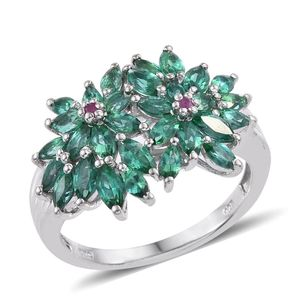 Lab Created Emerald, Ruby Platinum Over Sterling Silver Floral Cluster Ring (Size 7.0) TGW 2.360 cts.