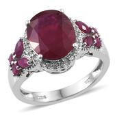 Niassa Ruby, Ruby, White Topaz Platinum Over Sterling Silver Ring (Size 9.0) TGW 7.430 cts.