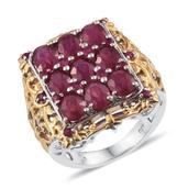 Niassa Ruby, Ruby 14K YG and Platinum Over Sterling Silver Openwork Ring (Size 8.0) TGW 11.050 cts.