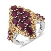Niassa Ruby, Ruby 14K YG and Platinum Over Sterling Silver Openwork Elongated Ring (Size 6.0) TGW 6.55 cts.
