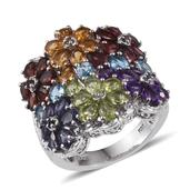 Rainbow Gems Multi Gemstone Platinum Over Sterling Silver Cluster Floral Enlongated Ring (Size 8.0) TGW 7.910 cts.