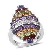 Rainbow Gems Multi Gemstone Platinum Over Sterling Silver Elongated Ring (Size 8.0) TGW 6.180 cts.