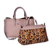 J Francis - Beige and Brown Leopard Print Faux Leather Handbag with Matching Set (16x5x10 in)