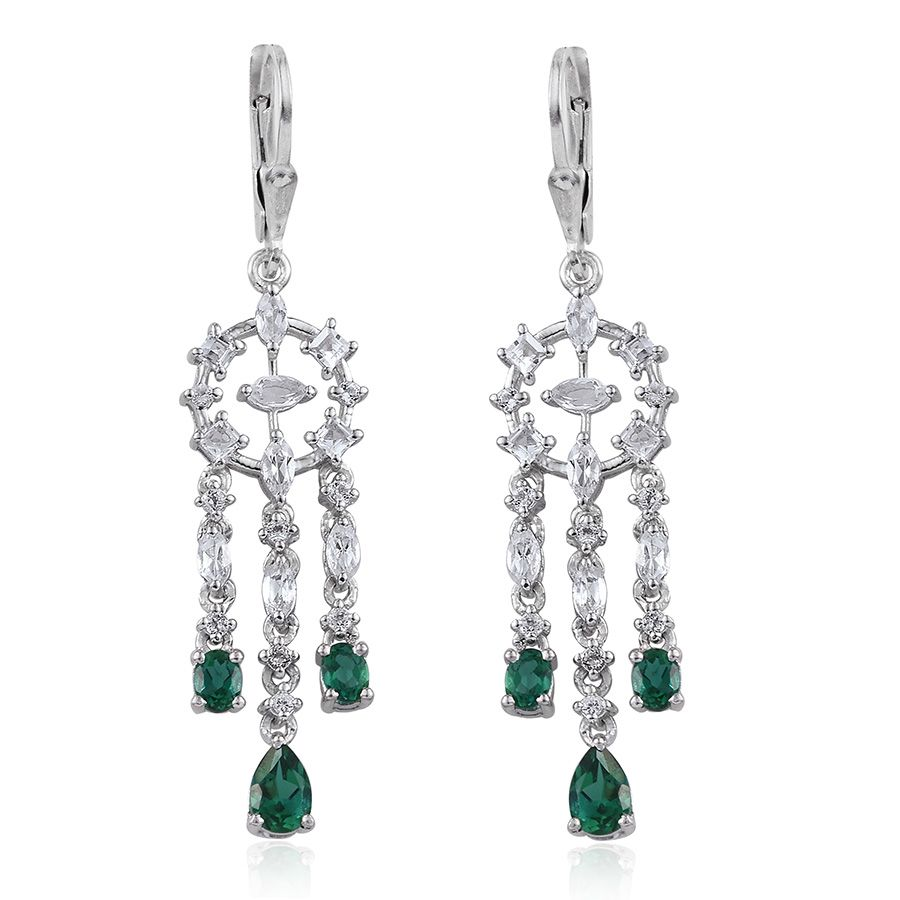 Lab Created Emerald, White Topaz Platinum Over Sterling Silver Lever Back Chandelier Earrings TGW 3.48 cts.