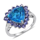 Caribbean Quartz, Tanzanite Platinum Over Sterling Silver Ring (Size 10.0) TGW 7.940 cts.