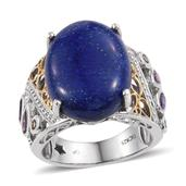 GP Lapis Lazuli, Multi Gemstone Platinum Over Sterling Silver Enlarged Openwork Ring (Size 8.0) TGW 21.390 cts.