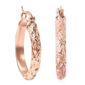 ION Plated RG Stainless Steel Engraved Hoop Earrings