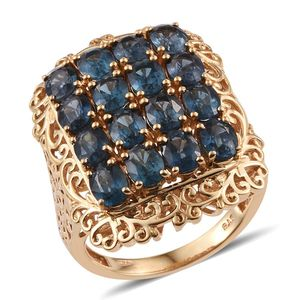 Teal Kyanite 14K YG Over Sterling Silver Ring (Size 5.0) TGW 6.80 cts.