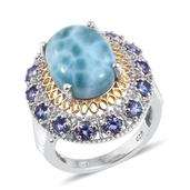 Larimar, Tanzanite 14K YG and Platinum Over Sterling Silver Statement Ring (Size 9.0) TGW 12.800 cts.