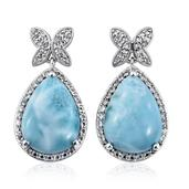 Larimar, White Topaz Platinum Over Sterling Silver Earrings TGW 28.050 Cts.