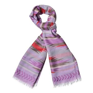 Purple and Multi Color 100% Polyester Santa Fe Pattern Scarf (74x28 in)
